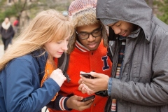 Students checking their social media apps.