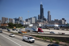 Highway in Chicago, Illinois with Willis Tower in background.
