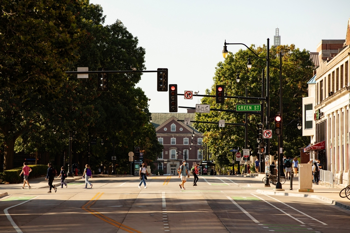 (8) View of Wright Street looking across crosswalk at Green Street towards the Main Library.